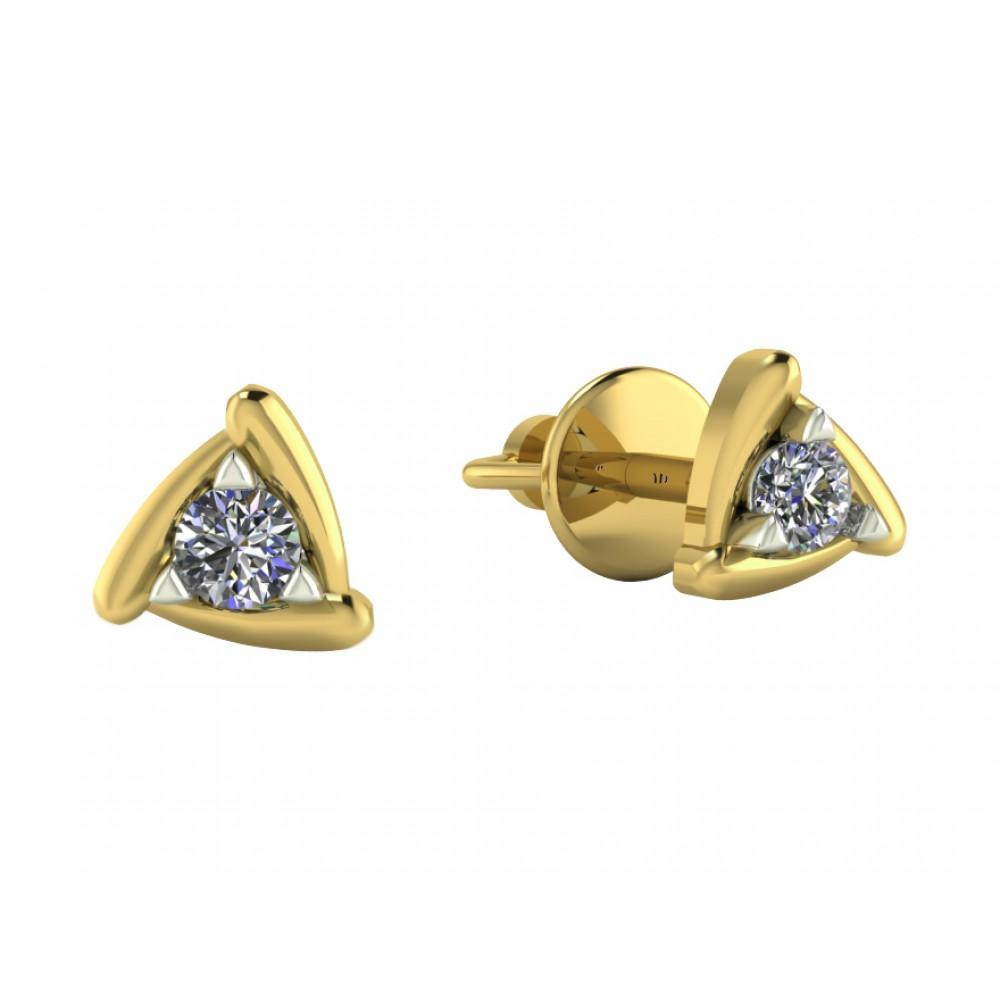 """Пусеты из желтого золота с бриллиантами """"Egypt"""""""