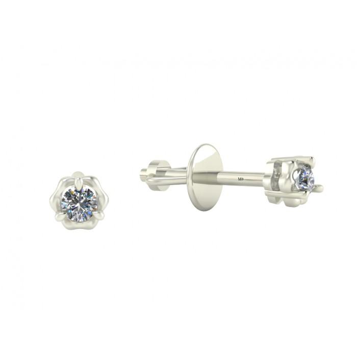 """Серьги из белого золота с бриллиантами """"Rose"""""""