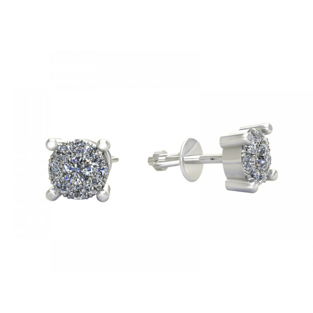 """Серьги с бриллиантами из белого золота """"Diana"""""""
