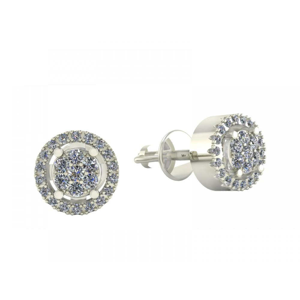 "Серьги-пусеты с бриллиантами ""50 Diamonds"""