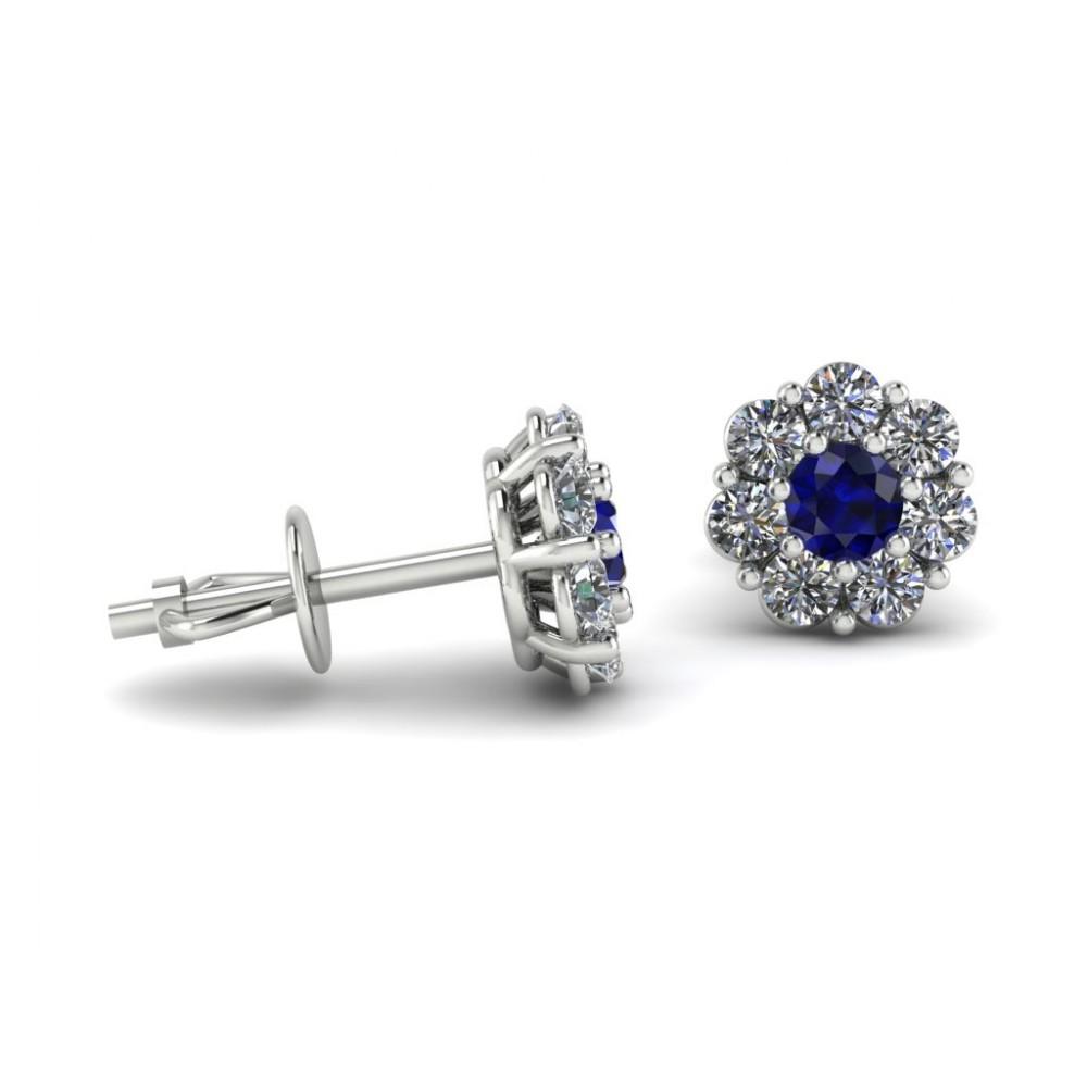 """Серьги с сапфиром и бриллиантами по кругу """"Blue Flower"""""""