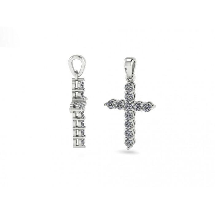 """Крестик с бриллиантами из белого золота """"2.75 carat"""""""