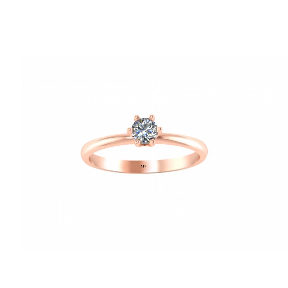 Кольцо помолвочное с одним центральным бриллиантом 0.20 карат RYD005