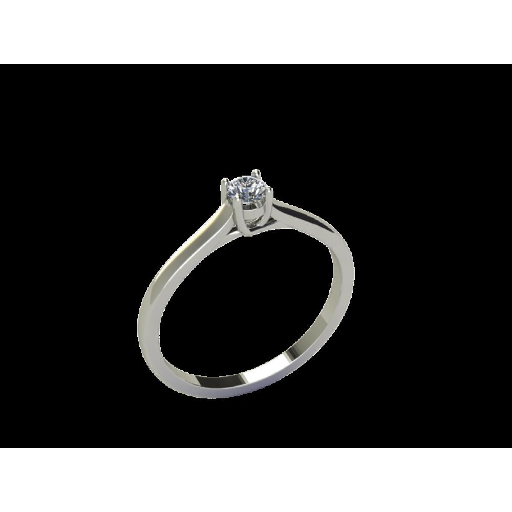 Кольцо помолвочное из белого золота с центральным бриллиантом RYD007