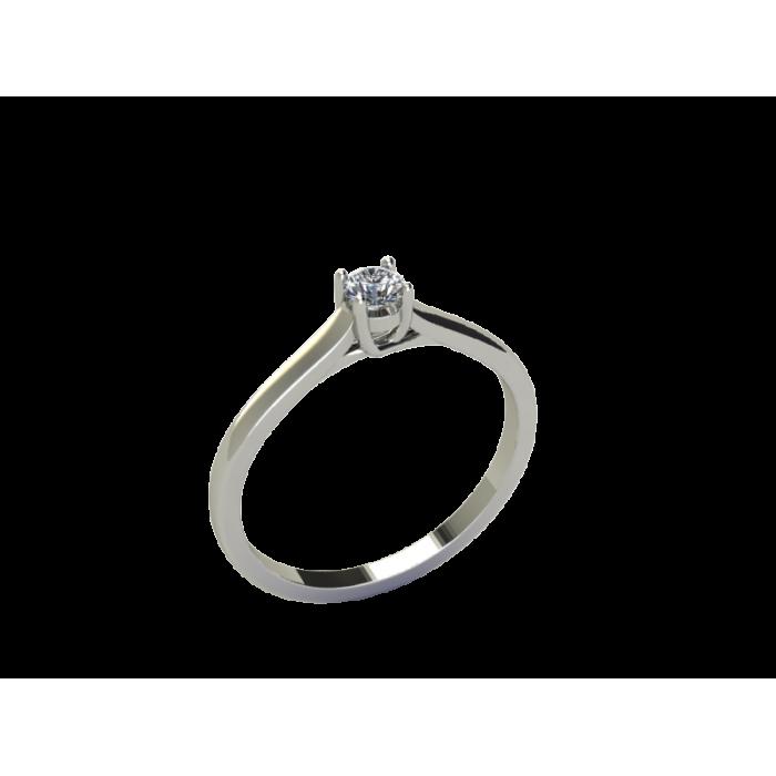 Кольцо помолвочное из белого золота с центральным бриллиантом по центру RYD007