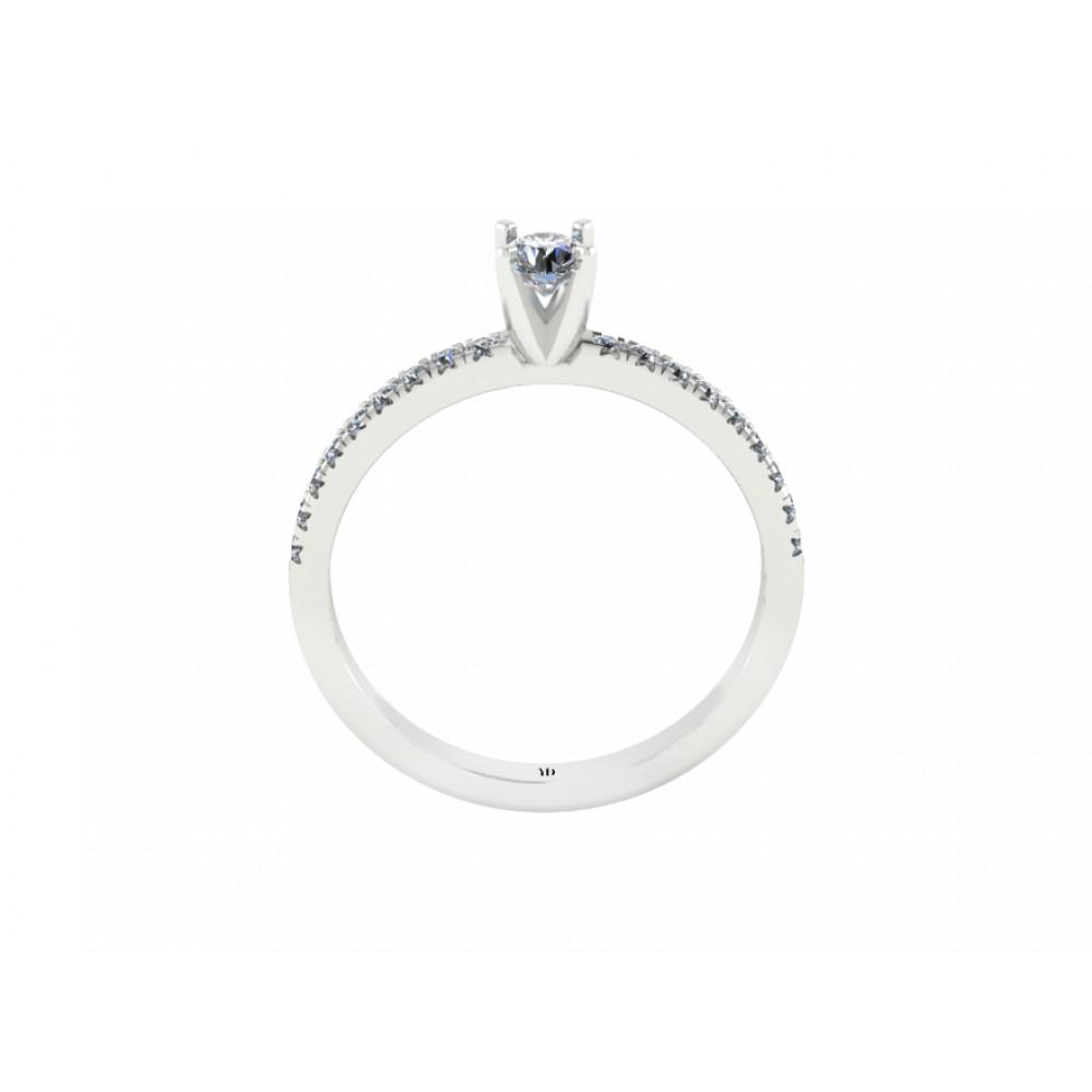 Кольцо помолвочное с центральным бриллиантом и россыпью бриллиантов RYD009