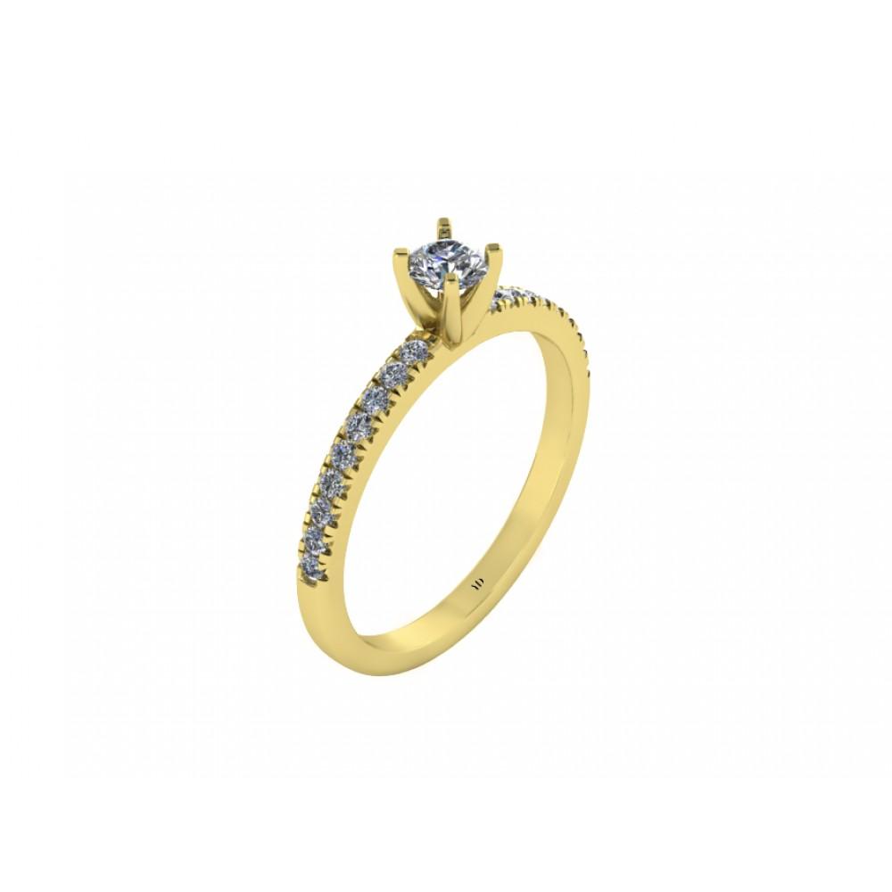 Кольцо помолвочное с центральным бриллиантом по центру и россыпью бриллиантов RYD009