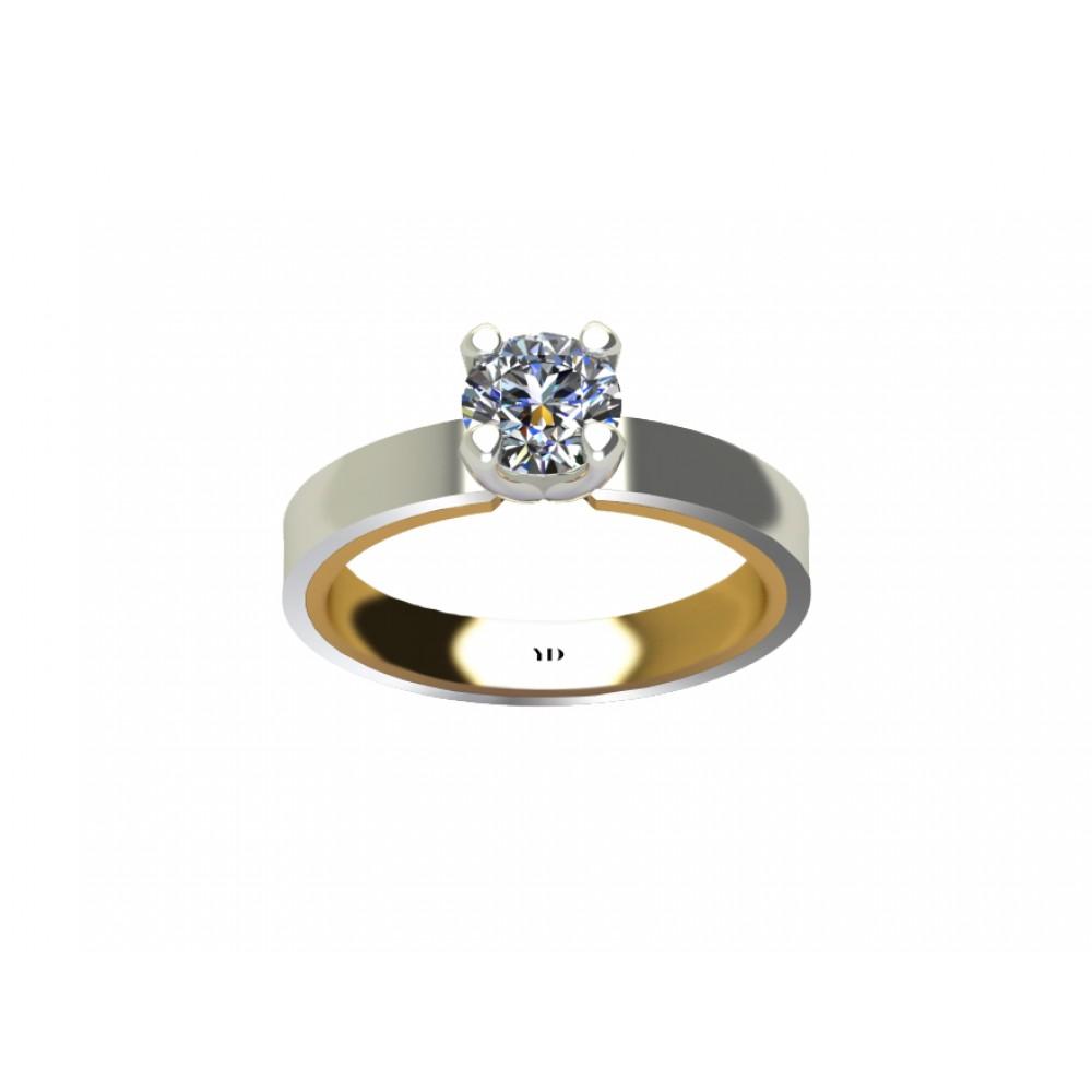 Кольцо для помолвки из комбинированного золота с бриллиантом RYD014
