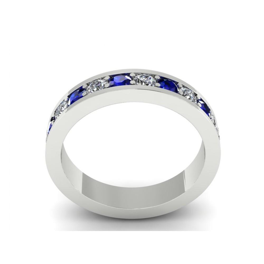 "Кольцо-дорожка с бриллиантами и сафирами ""Marry me"""