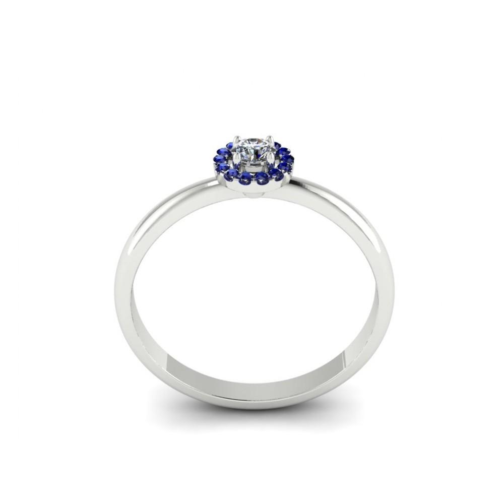 """Каблучка для заручин з діамантом та сапфірами """"Idra"""""""