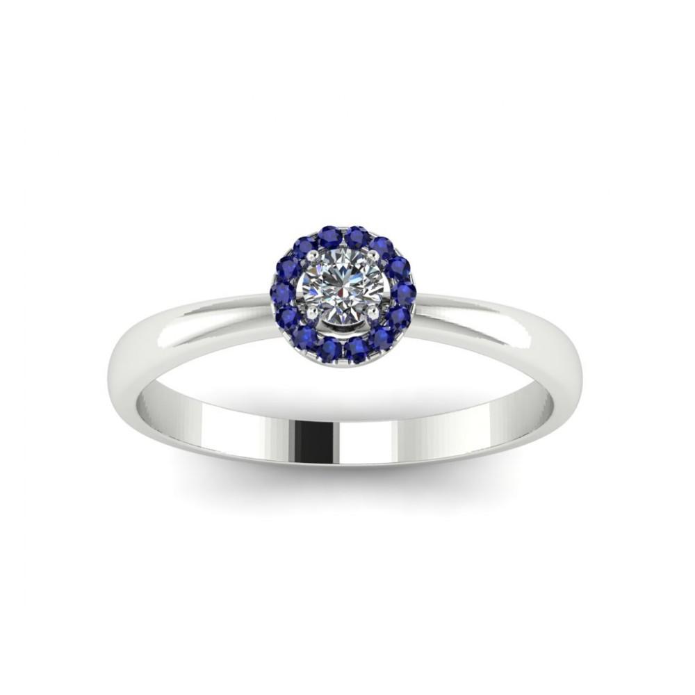 """Кольцо для помолвки с бриллиантом и сапфирами """"Idra"""""""