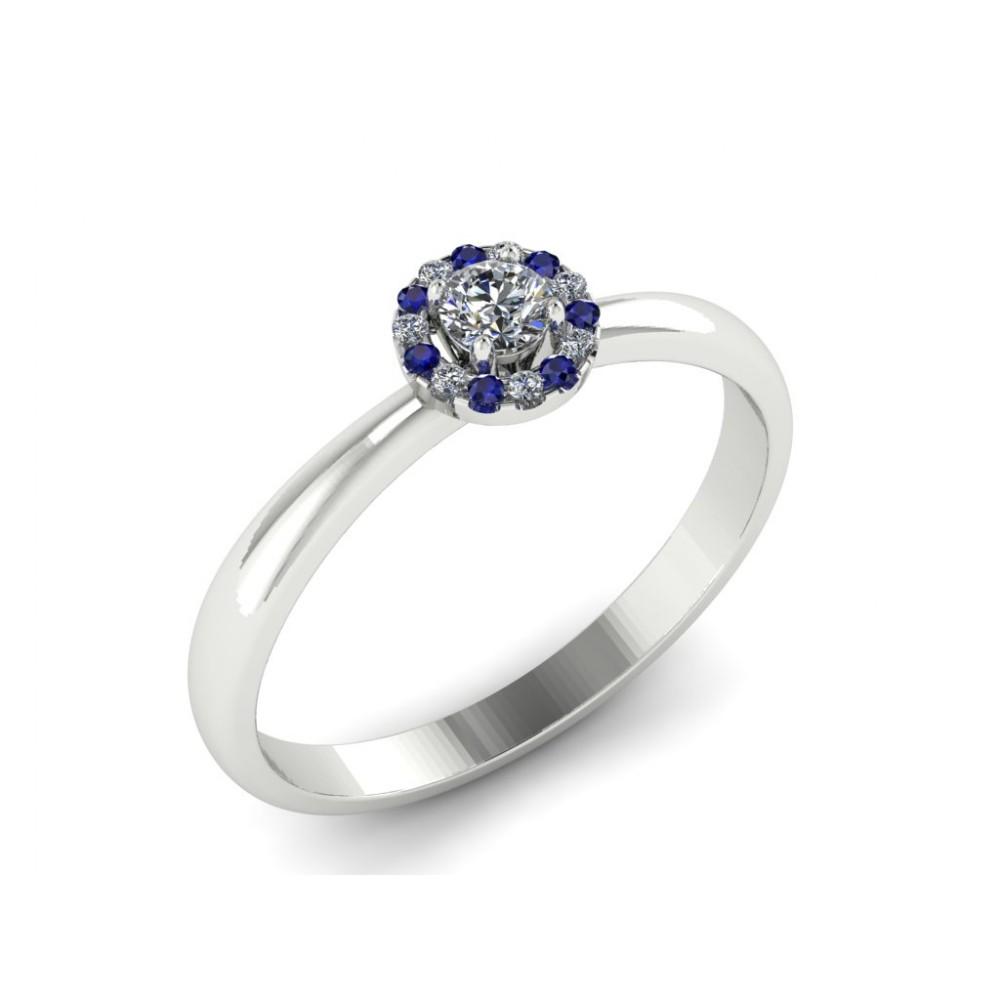 """Каблучка для заручин з діамантами та сапфірами """"Helena"""""""