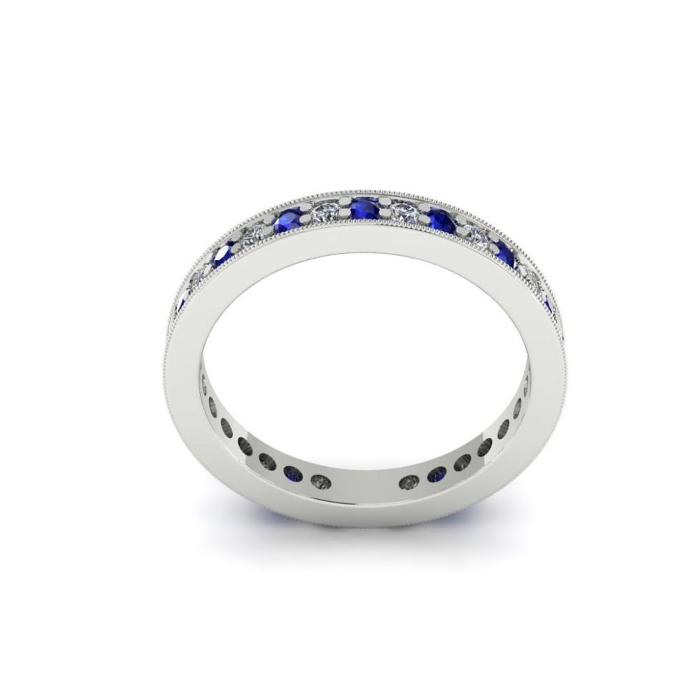 """Помолвочное кольцо с россыпью бриллиантов и сапфиров """"Scarlett"""""""