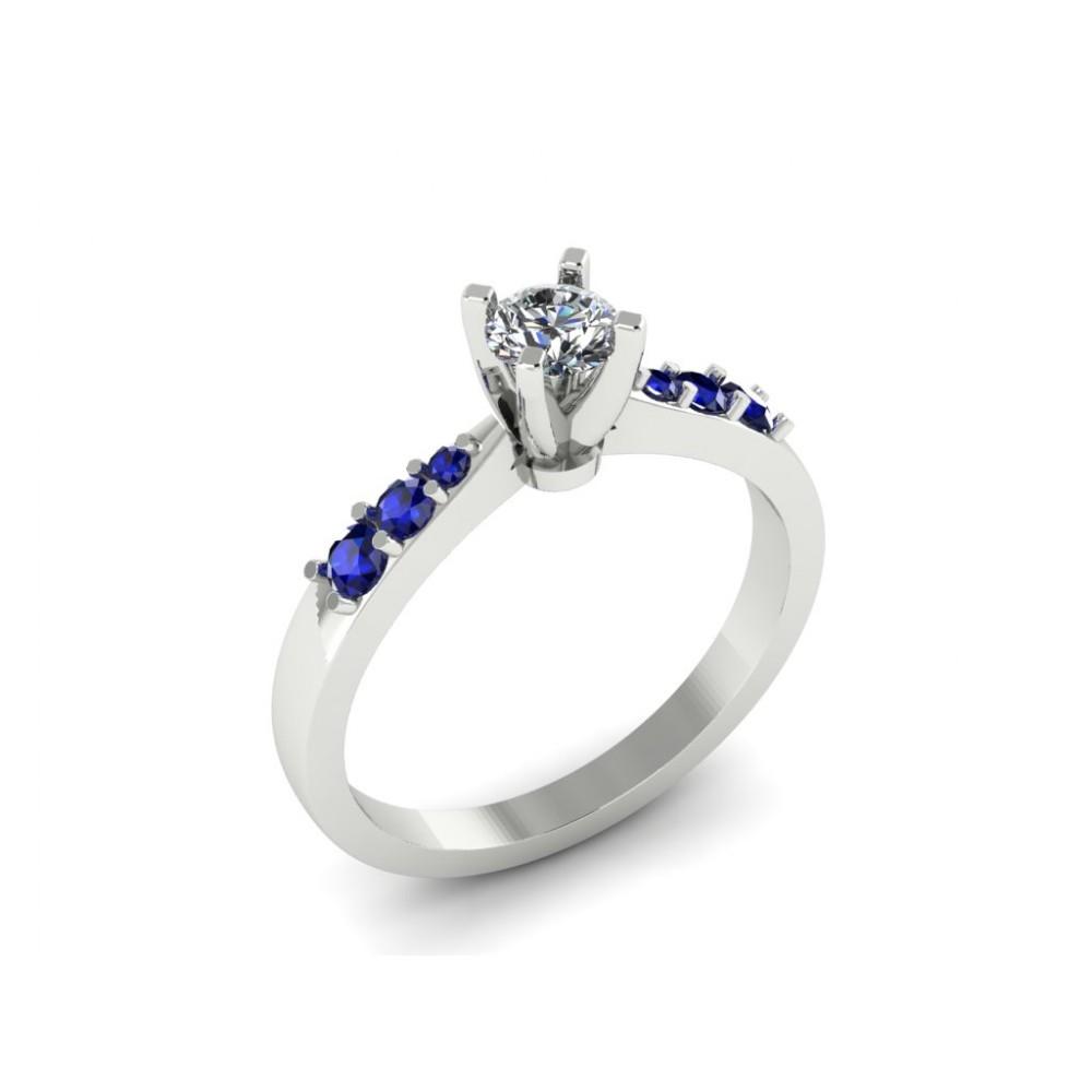 """Кольцо для помолвки с бриллиантом и россыпью сапфиров """"Hollywood"""""""