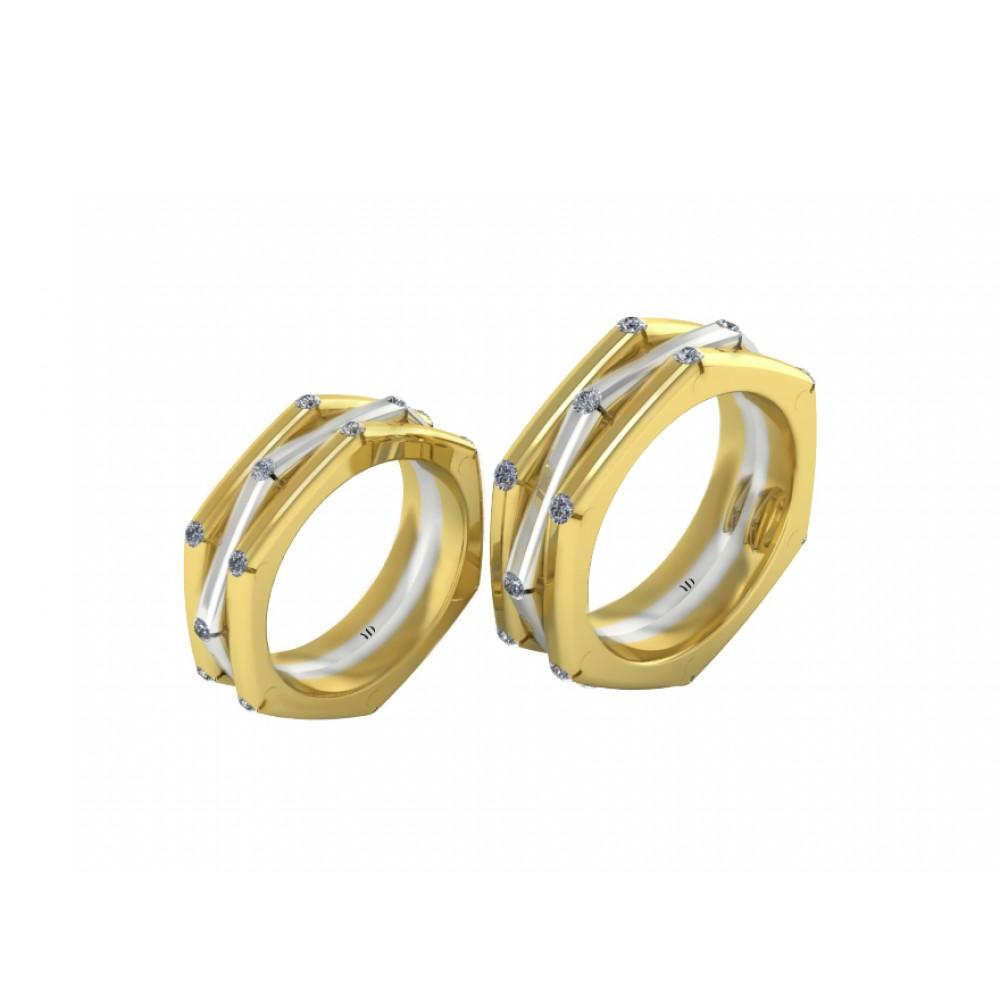 """Обручальное кольцо из комбинированного золота с бриллиантами """"Marigold"""""""