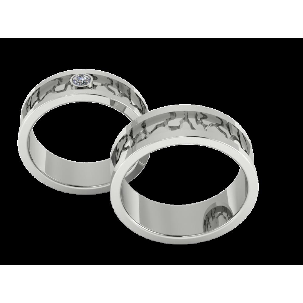 """Обручальные кольца из белого золота парой """"One Love"""""""