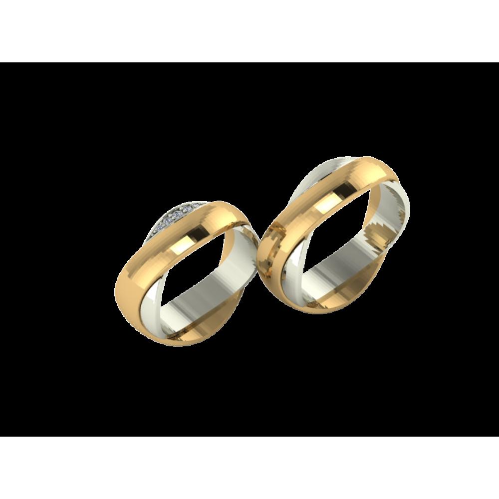 """Обручальное кольцо из желтого и белого золота с бриллиантами """"One Story"""""""